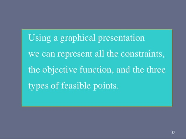 15 Using a graphical presentation we can represent all the constraints, the objective function, and the three types of fea...