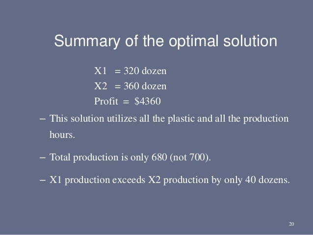 20 Summary of the optimal solution X1 = 320 dozen X2 = 360 dozen Profit = $4360 – This solution utilizes all the plastic a...