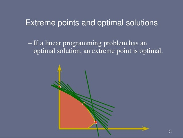 21 – If a linear programming problem has an optimal solution, an extreme point is optimal. Extreme points and optimal solu...