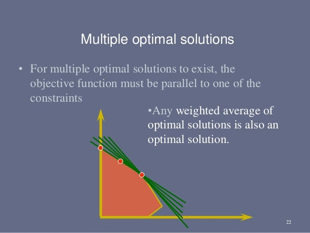 22 • For multiple optimal solutions to exist, the objective function must be parallel to one of the constraints Multiple o...