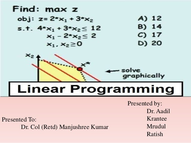 linear programming in healthcare Linear programming is constrained optimization, where the constraints and the objective function are all linear it is called programming becaus e the goal of the .