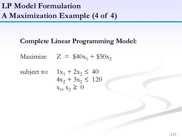 what is linear programming Advances in business and engineering research and computer technology have ex-panded managers' use of mathematical models a model represents the essential fea- tures of an object, system, or problem without unimportant details.