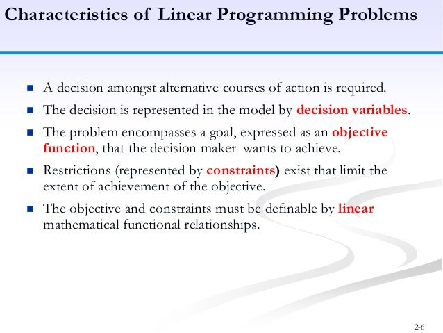 linear progra mming The linear programming method is a technique for choosing the best alternative from a set of feasible alternatives, in situations in which the objective function as well as the constraints can be expressed as linear mathematical functions.