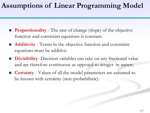 general structure of linear programming model
