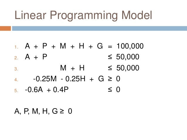the navy linear programming application Restaurants use linear programming for menu planning it uses basic algebra to optimize meal production and thereby increase restaurant profits linear algebra reflects a direct relationship between an increase or decrease in food resources, and an increase or decrease in meal production for example, if the kitchen.