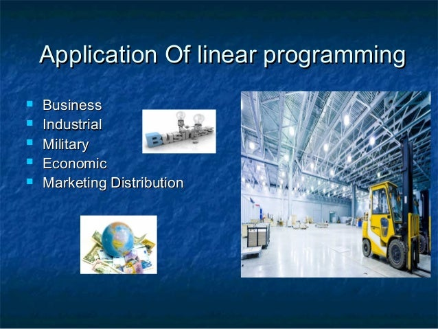 the navy linear programming application The navy has 9,000 pounds of material in albany,  formulate and solve a linear program to determine the shipping arrangements (mode, destination, and  linear programming: applications is the property of its rightful owner do you have powerpoint slides to share if so, share your ppt presentation slides online with powershowcom.
