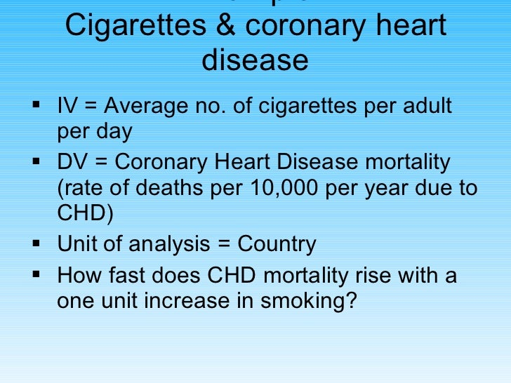 Example: Cigarettes & coronary heart disease <ul><li>IV = Average no. of cigarettes per adult per day </li></ul><ul><li>DV...