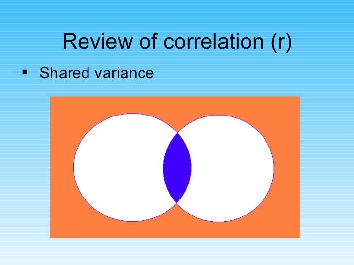 Review of correlation (r) <ul><li>Shared variance </li></ul>