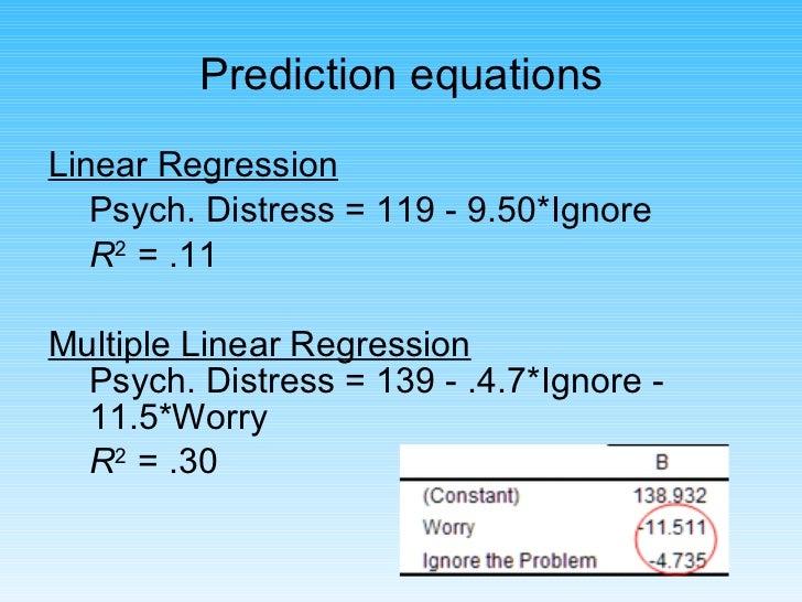 <ul><li>Linear Regression </li></ul><ul><li>Psych. Distress = 119 - 9.50*Ignore </li></ul><ul><li>R 2  = .11 </li></ul><ul...
