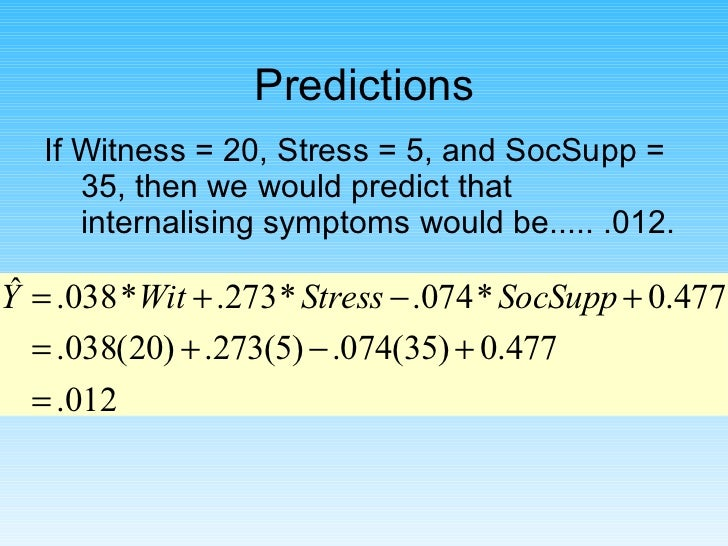 Predictions <ul><li>If Witness = 20, Stress = 5, and SocSupp = 35, then we would predict that internalising symptoms would...