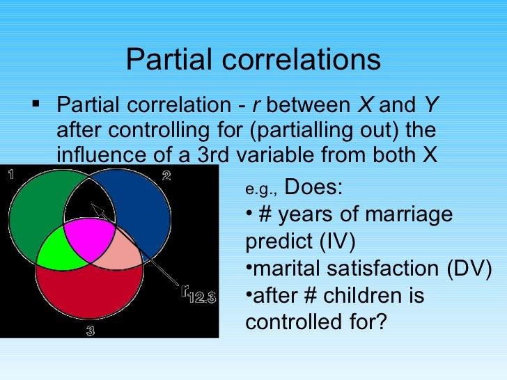 Partial correlations <ul><li>Partial correlation -  r  between  X  and  Y  after controlling for (partialling out) the inf...