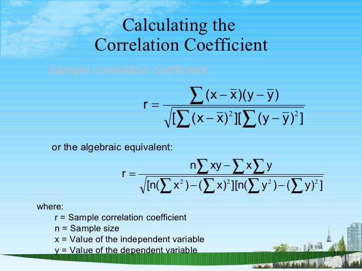 Calculating the  Correlation Coefficient where: r = Sample correlation coefficient n = Sample size x = Value of the indepe...