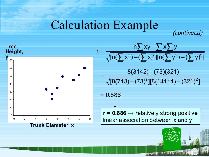 Calculation Example Trunk Diameter, x Tree Height,  y (continued) r = 0.886  -> relatively strong positive  linear associa...