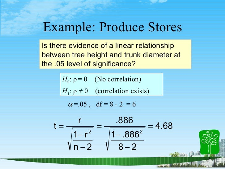 Example: Produce Stores Is there evidence of a linear relationship between tree height and trunk diameter at the .05 level...