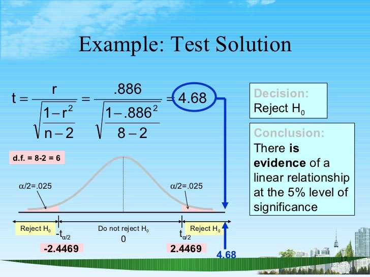 Example: Test Solution Conclusion: There  is evidence  of a linear relationship at the 5% level of significance Decision: ...