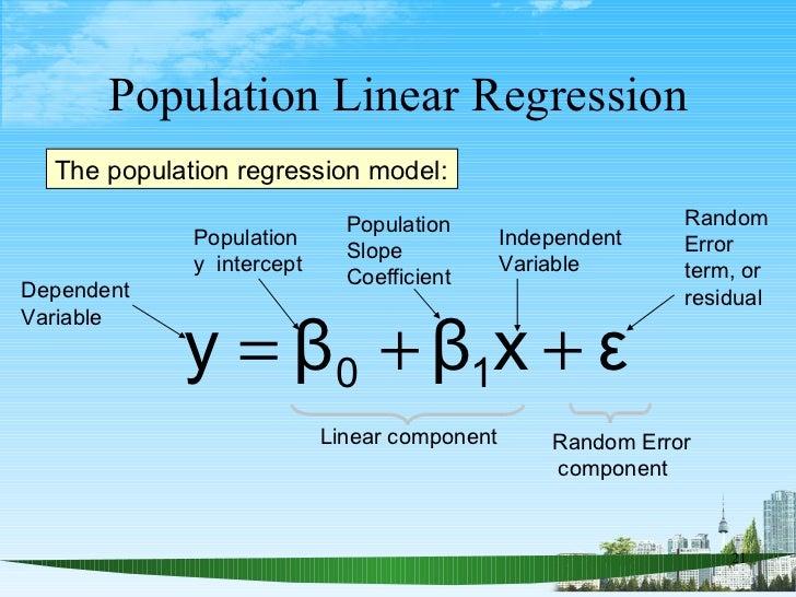 Population Linear Regression Linear component The population regression model: Population  y  intercept  Population Slope ...