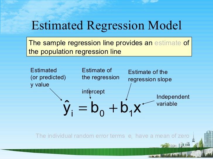 Estimated Regression Model The sample regression line provides an  estimate  of the population regression line Estimate of...