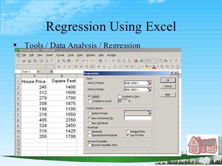 Regression Using Excel <ul><li>Tools / Data Analysis / Regression </li></ul>