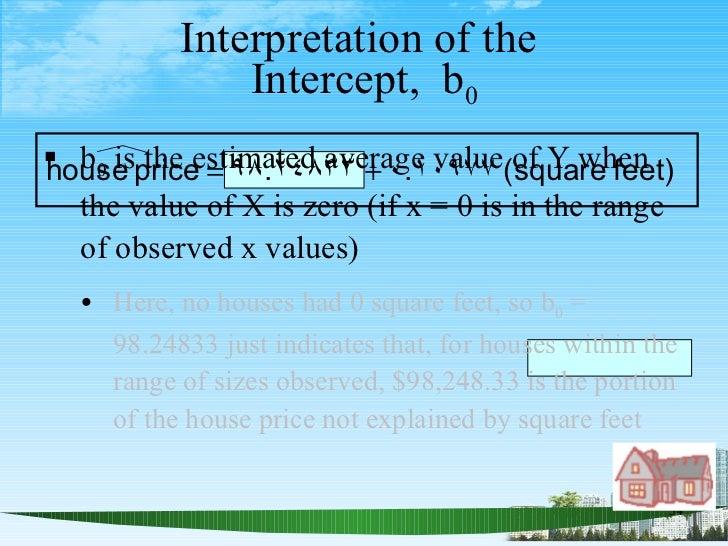 Interpretation of the  Intercept,  b 0 <ul><li>b 0  is the estimated average value of Y when the value of X is zero (if x ...