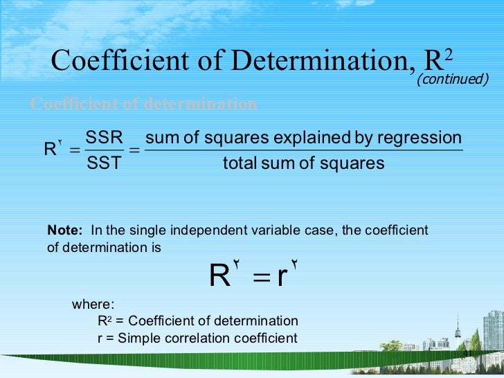 <ul><li>Coefficient of determination   </li></ul>Coefficient of Determination, R 2 (continued) Note:   In the single indep...