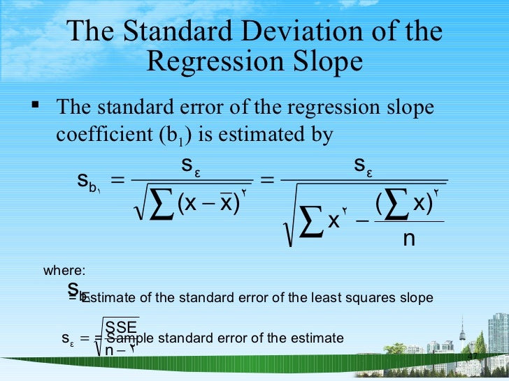 The Standard Deviation of the Regression Slope <ul><li>The standard error of the regression slope coefficient (b 1 ) is es...
