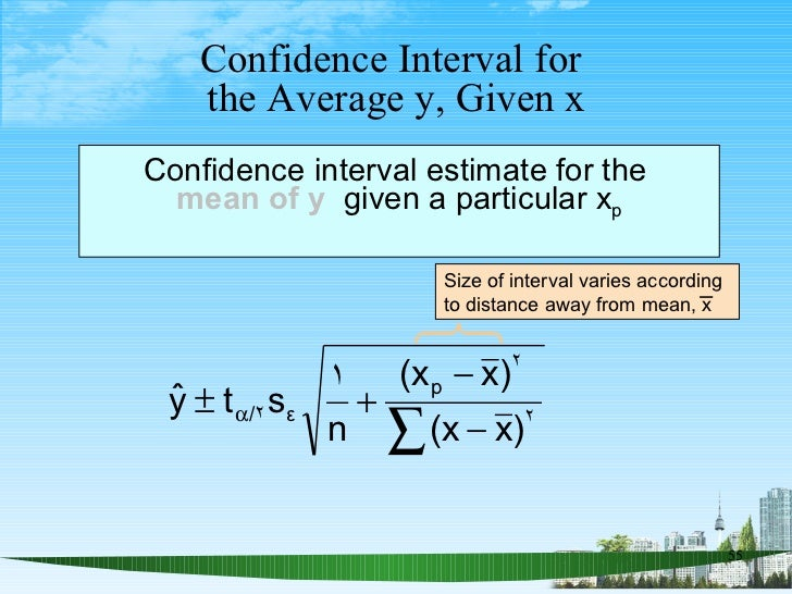 Confidence Interval for  the Average y, Given x Confidence interval estimate for the  mean of y   given a particular x p S...