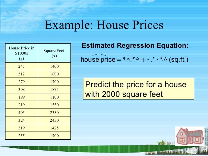 Example: House Prices Estimated Regression Equation: Predict the price for a house with 2000 square feet House Price in $1...