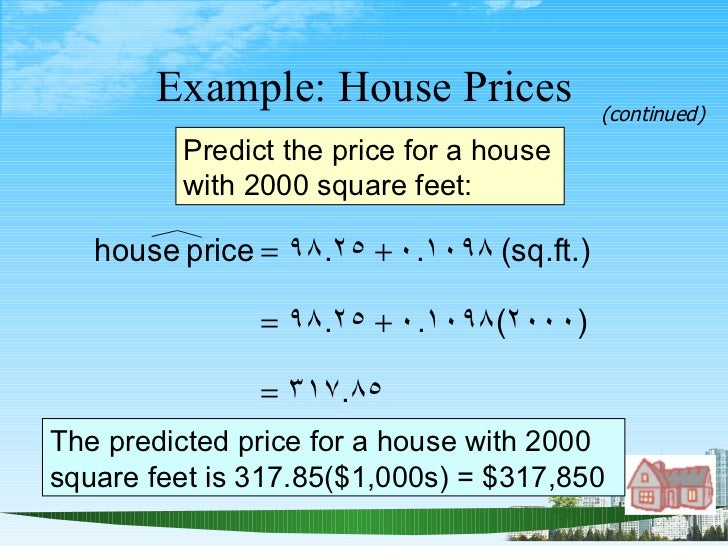 Example: House Prices Predict the price for a house with 2000 square feet: The predicted price for a house with 2000 squar...