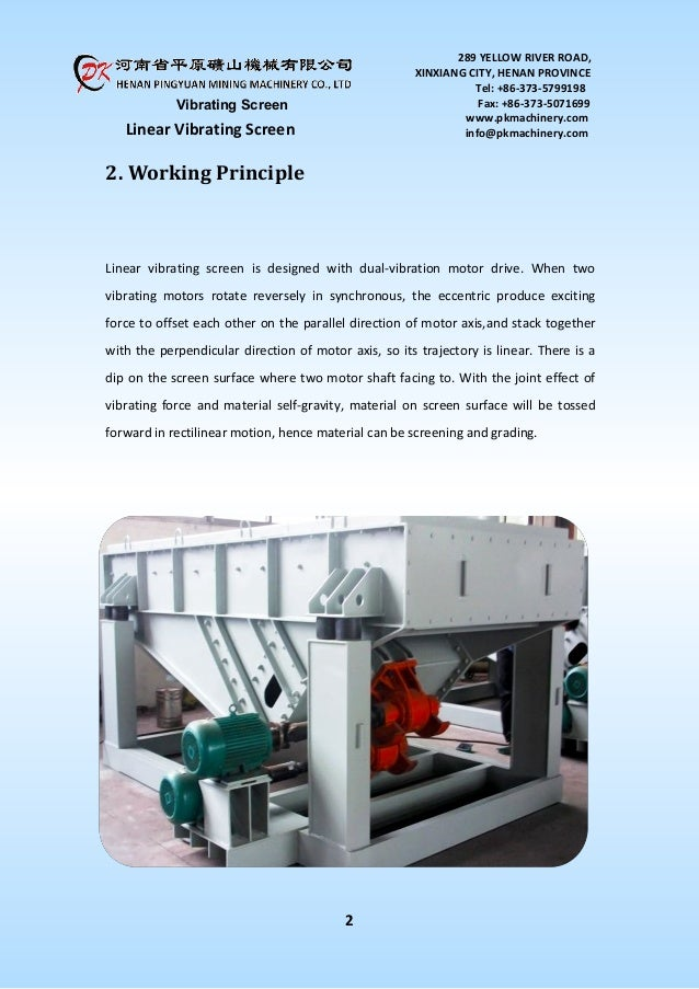 Linear vibrating screen product introduction pdf