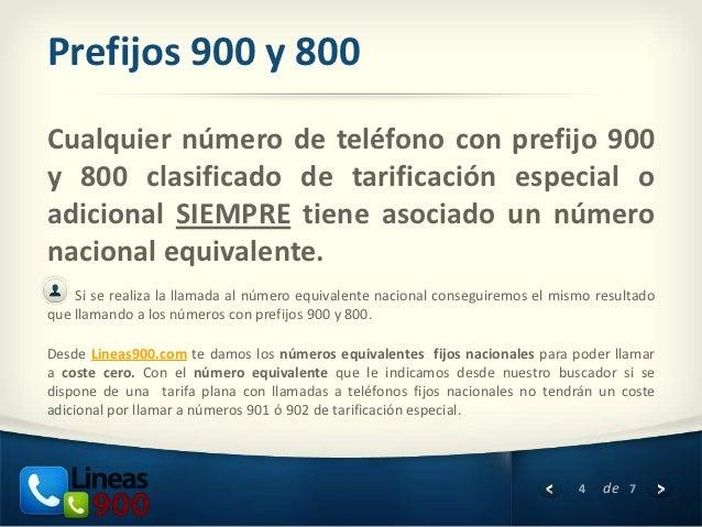 Prefijos 900 y 800Cualquier número de teléfono con prefijo 900y 800 clasificado de tarificación especial oadicional SIEMPR...
