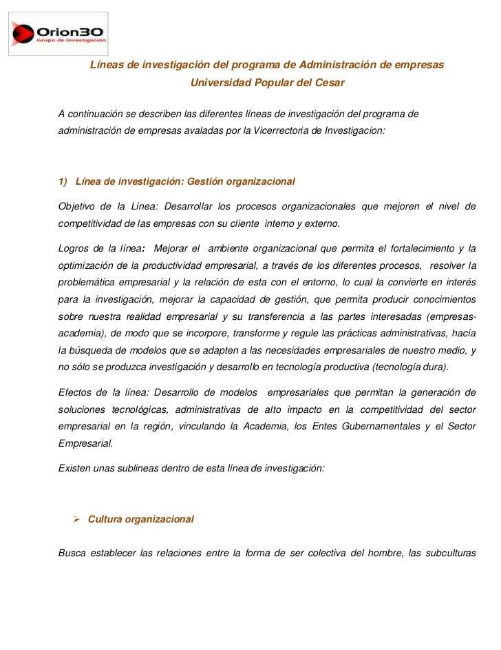 Líneas de investigación del programa de Administración de empresas<br />Universidad Popular del Cesar<br />A continuación ...