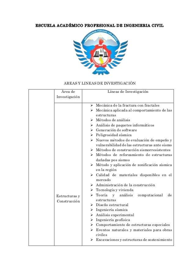 ESCUELA ACADÉMICO PROFESIONAL DE INGENIERIA CIVIL AREAS Y LINEAS DE INVESTIGACIÓN Área de Investigación Líneas de Investig...