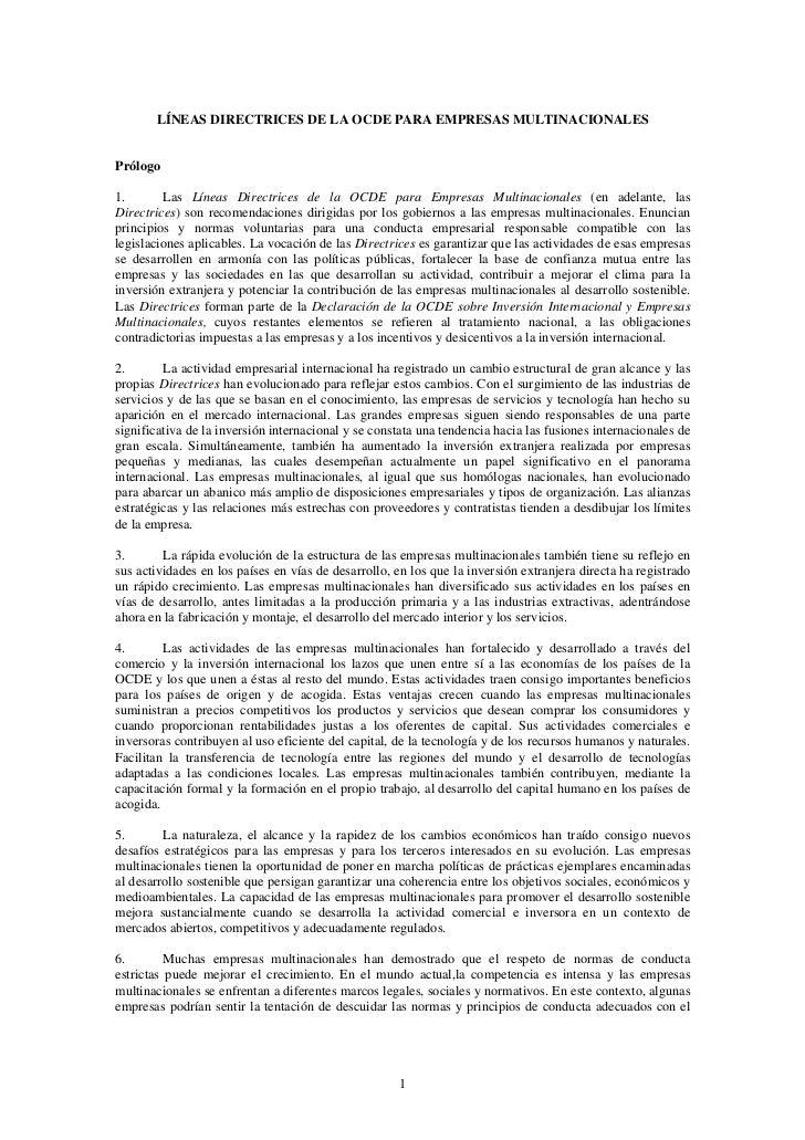 LÍNEAS DIRECTRICES DE LA OCDE PARA EMPRESAS MULTINACIONALESPrólogo1.       Las Líneas Directrices de la OCDE para Empresas...
