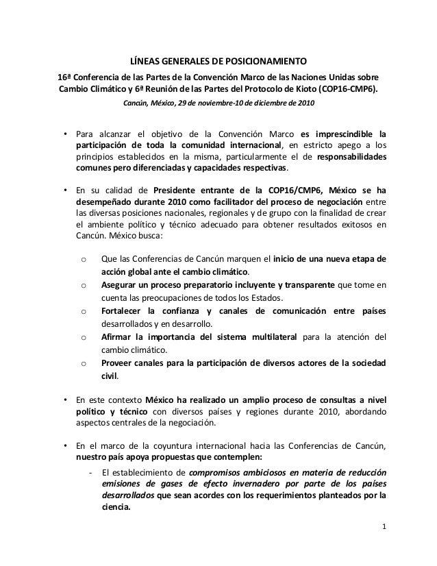 1 LÍNEAS GENERALES DE POSICIONAMIENTO 16ª Conferencia de las Partes de la Convención Marco de las Naciones Unidas sobre Ca...