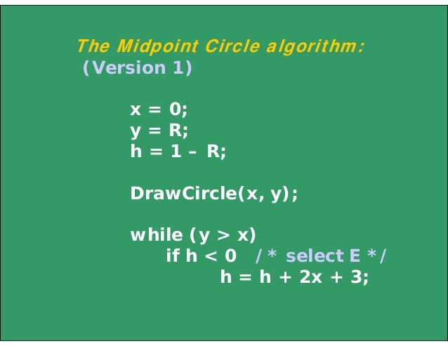 Midpoint Line Drawing Algorithm Example : Line circle draw