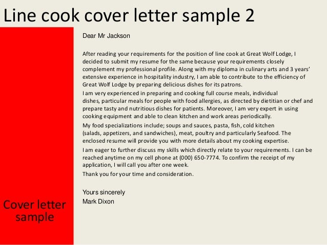 Line cook cover letter for Cover letter for a cook position