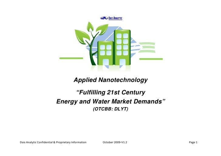 """Applied Nanotechnology                                   """"Fulfilling 21st Century                             Energy and W..."""