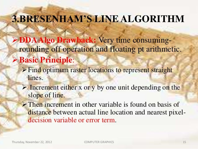 Bresenham Line Drawing Algorithm For Slope Less Than 1 : Line drawing algorithms