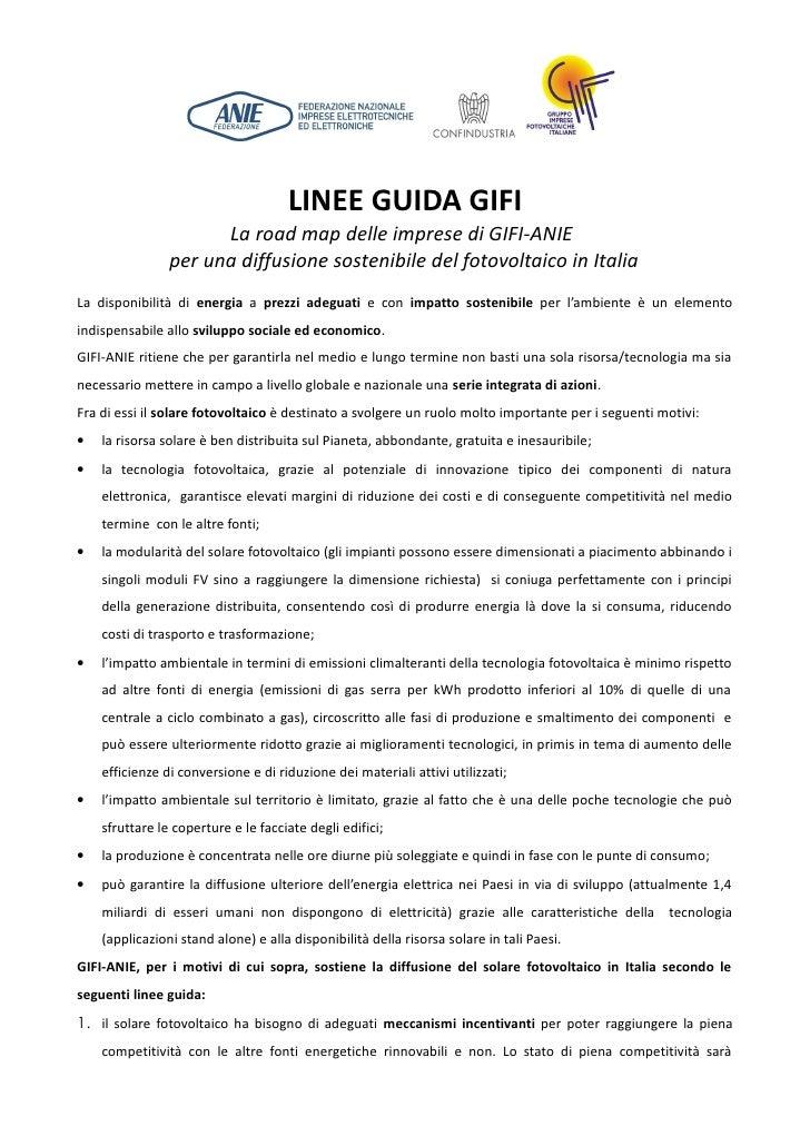 LINEE GUIDA GIFI                      La road map delle imprese di GIFI-ANIE                per una diffusione sostenibile...