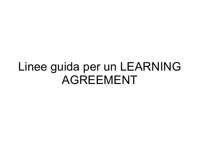 Linee guida per un LEARNING AGREEMENT