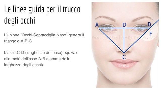 """Le linee guida per il trucco degli occhi L'unione """"Occhi-Sopracciglia-Naso"""" genera il triangolo A-B-C. L'asse C-D (lunghez..."""