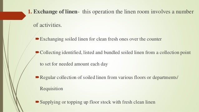 Activities Of Linen Room In Hotel