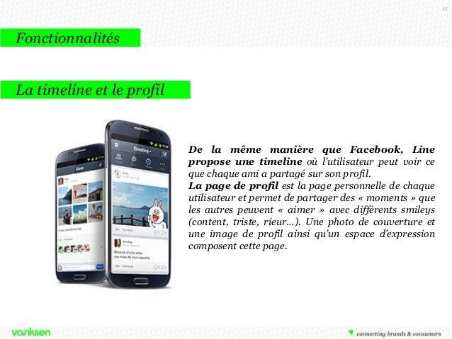 15  Fonctionnalités La timeline et le profil  De la même manière que Facebook, Line propose une timeline où l'utilisateur ...