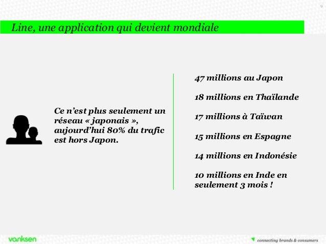 9  Line, une application qui devient mondiale  47 millions au Japon 18 millions en Thaïlande Ce n'est plus seulement un ré...