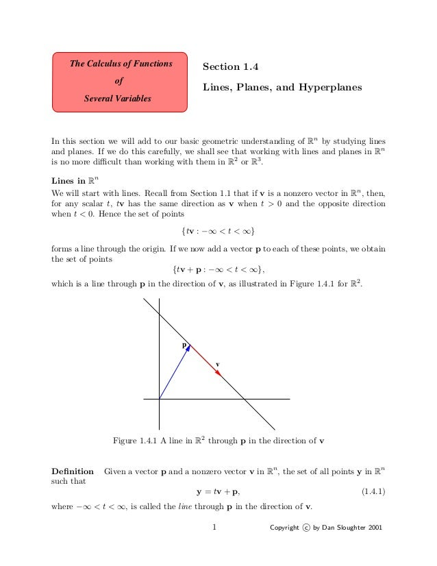 The Calculus of Functions            Section 1.4                 of                                          Lines, Planes...