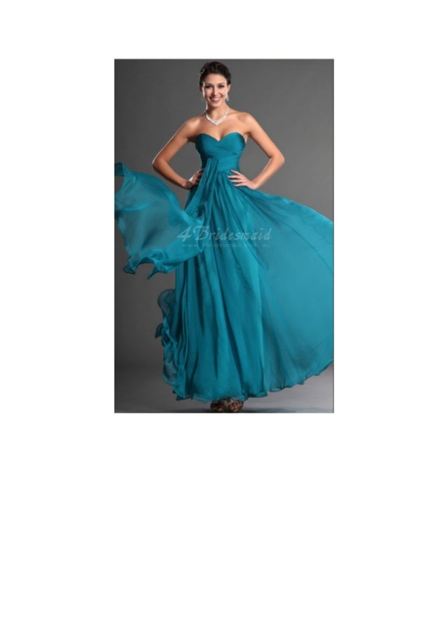 Line sweetheart long ocean blue chiffon bridesmaid dress for Ocean blue wedding dress