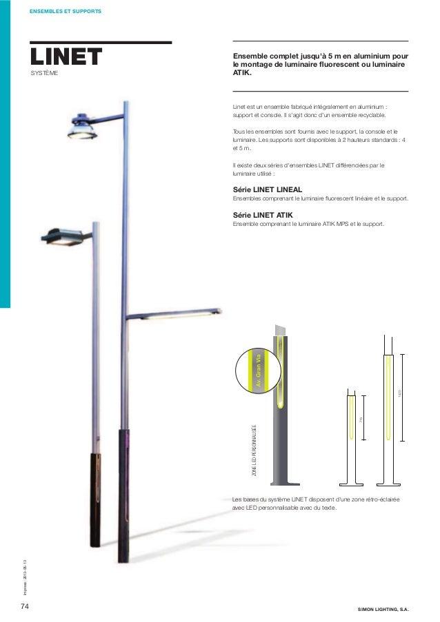 ENSEMBLES ET SUPPORTS  LINET SYSTÈME  Ensemble complet jusqu'à 5m en aluminium pour le montage de luminaire fluorescent ou...