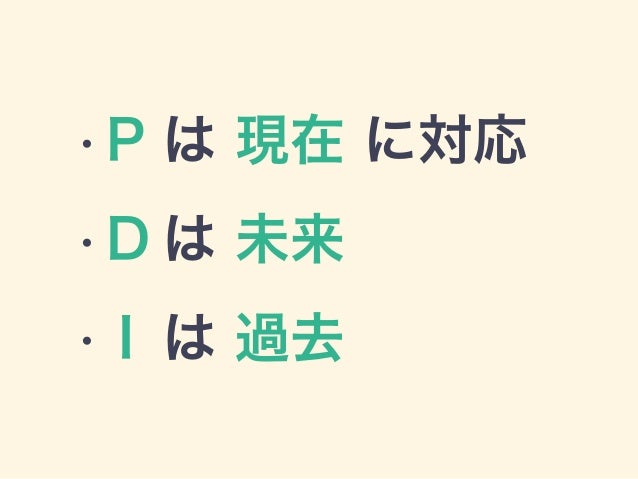 • P は 現在 に対応 • D は 未来 • I は 過去