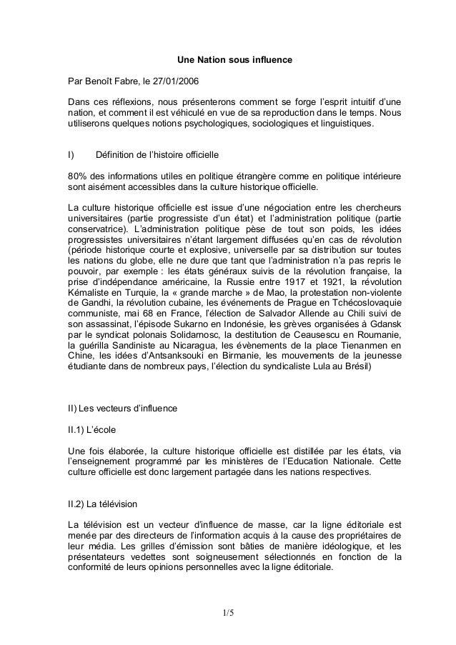 Une Nation sous influence Par Benoît Fabre, le 27/01/2006 Dans ces réflexions, nous présenterons comment se forge l'esprit...