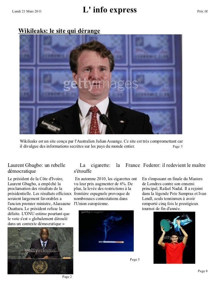 Lundi 21 Mars 2011                           L info express                                                    Prix:1€    ...